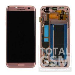 Samsung G935 Galaxy S7 Edge LCD Kijelző+Érintőplexi+Keret Pink Gold Gyári