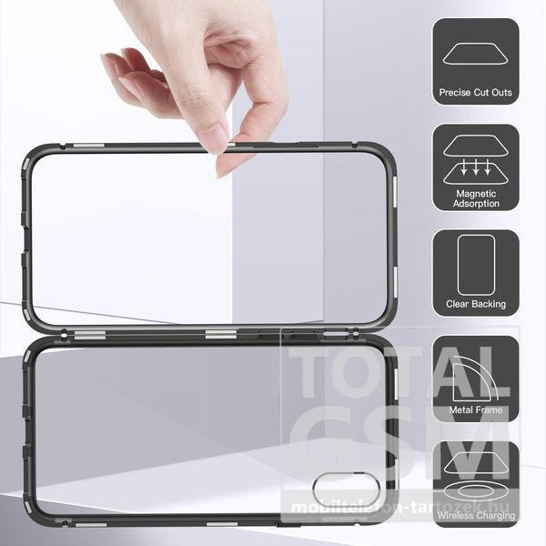 Apple iPhone XS Max Fekete Aluminium Keretes Mágneses Plexi Tok