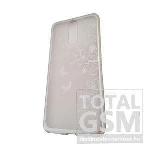 Huawei Mate 10 Lite Ezüst Pillangó Mintás Szilikon Tok