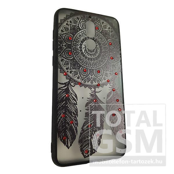 Huawei Mate 10 Lite Fekete Álomfogó Mintás Piros Köves Szilikon Tok