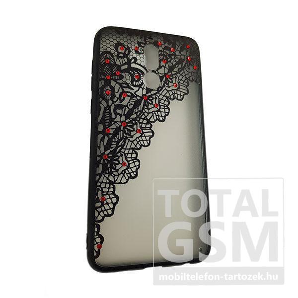 Huawei Mate 10 Lite Fekete Csipke Mintás Piros Köves Szilikon Tok