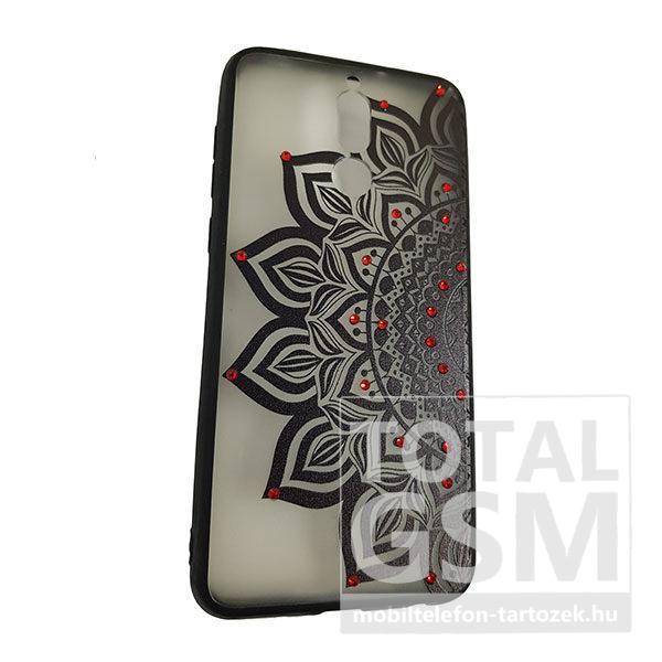 Huawei Mate 10 Lite Fekete Virág Mintás Piros Köves Szilikon Tok