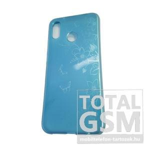 Huawei P20 Lite Kék Pillangó Mintás Szilikon Tok