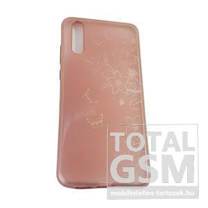 Huawei P20 Rose Gold Pillangó Mintás Szilikon Tok