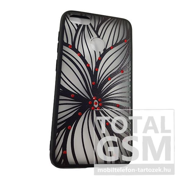 97b6faff2cd4 Huawei P9 Lite Mini Fekete Nagy Virág Mintás Piros Köves Szilikon Tok