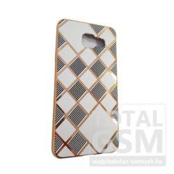 Samsung A310 Galaxy A3 (2016) Arany Keretes Fehér-Fekete Csíkos Szilikon Tok