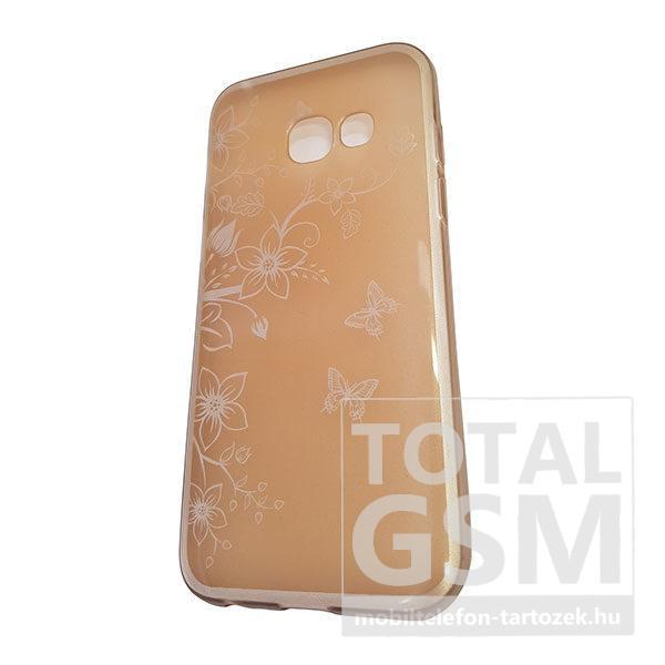 Samsung A320 Galaxy A3 2017 Arany Pillangó Mintás Szilikon Tok