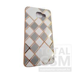 Samsung A510 Galaxy A5 (2016) Arany Keretes Fehér-Fekete Csíkos Szilikon Tok