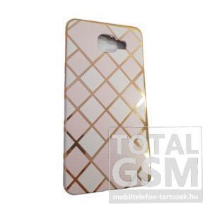 Samsung A510 Galaxy A5 (2016) Arany Keretes Fehér-Rózsaszín Kockás Szilikon Tok