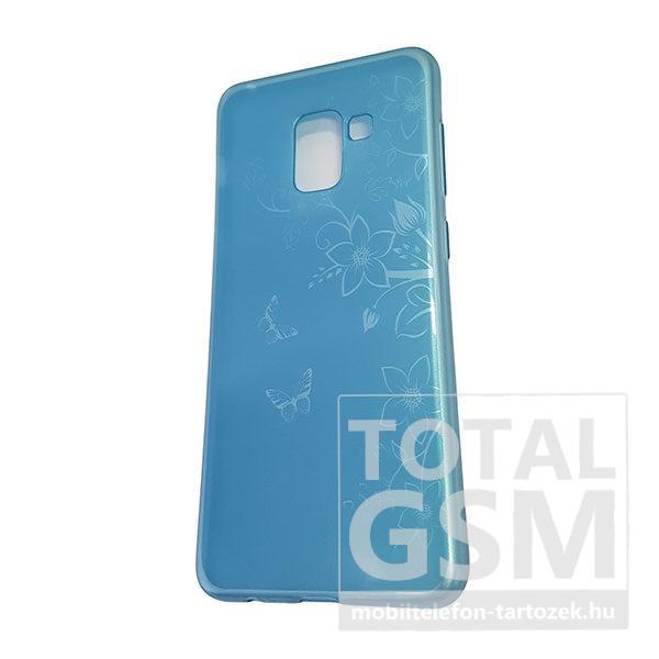 Samsung A530 Galaxy A8 2018 Kék Pillangó Mintás Szilikon Tok