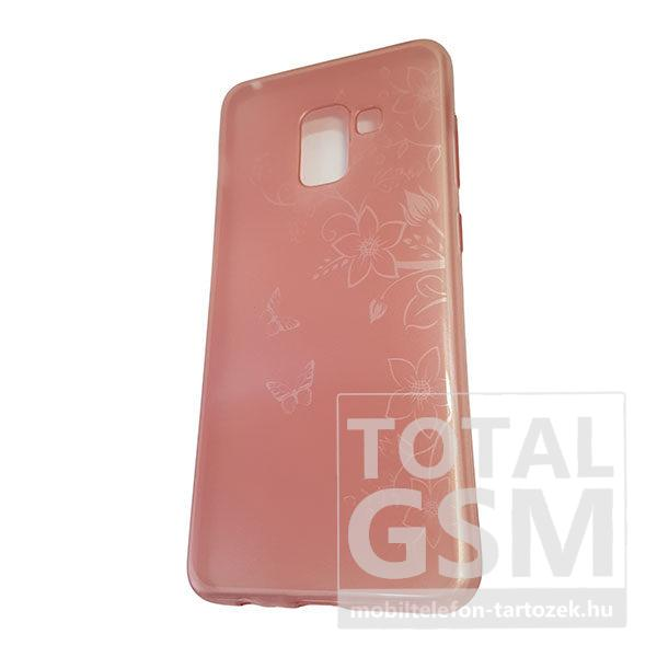 Samsung A530 Galaxy A8 2018 Rose Gold Pillangó Mintás Szilikon Tok