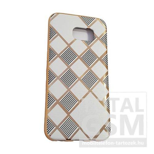 Samsung G935 Galaxy S7 Edge Arany Keretes Fehér-Fekete Csíkos Szilikon Tok