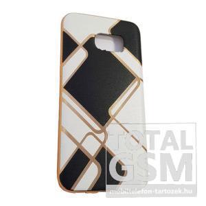 Samsung G935 Galaxy S7 Edge Arany Keretes Fehér-Fekete Kockás Szilikon Tok