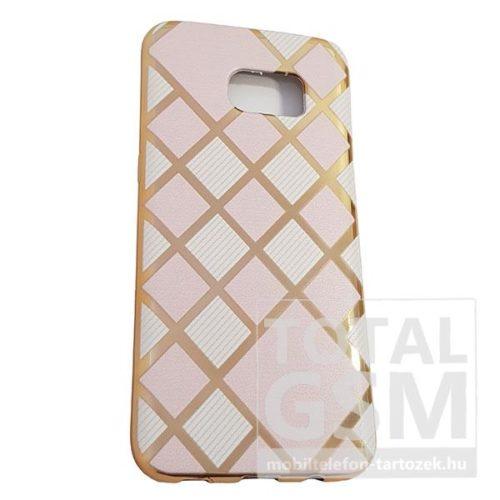 Samsung G935 Galaxy S7 Edge Arany Keretes Fehér-Rózsaszín Kockás Szilikon Tok
