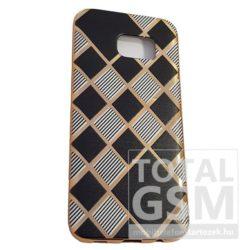 Samsung G935 Galaxy S7 Edge Arany Keretes Fekete Csíkos Szilikon Tok