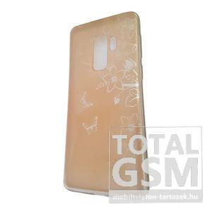Samsung G965 Galaxy S9 Plus Arany Pillangó Mintás Szilikon Tok