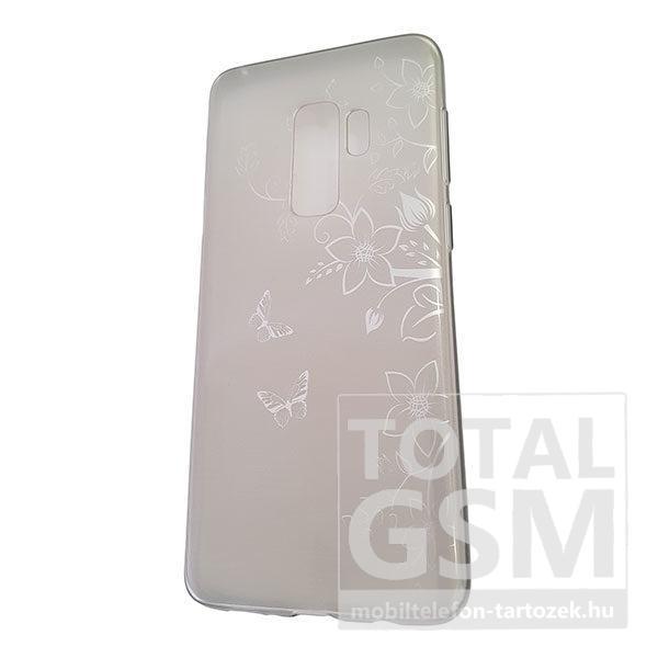 Samsung G965 Galaxy S9 Plus Ezüst Pillangó Mintás Szilikon Tok