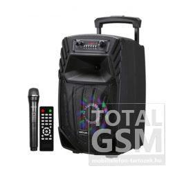 """Astrum TM085 """"Trolley"""" hordozható bluetooth hangszóró 8.0"""", 40W, FM, USB, MicroSD, színes LED világítás, távirányító, mikrofon"""