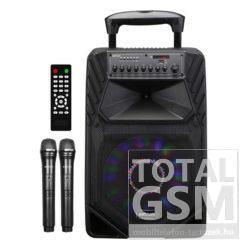 """Astrum TM155 """"Trolley"""" hordozható bluetooth hangszóró 15.0"""", 80W, FM, USB, MicroSD, színes LED világítás, távirányító, 2X mikrofon"""