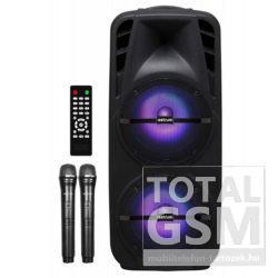 """Astrum TM220 """"Trolley"""" hordozható bluetooth hangszóró 2X 12.0"""", 80W, FM, USB, MicroSD, színes LED világítás, távirányító, 2X mikrofon"""