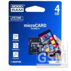 Goodram microSDHC 4GB Class 4 memóriakártya SD adapterrel Artisjus matricával - M40A-0040R11