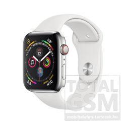 Apple Watch Series 4 GPS 40mm Rozsdamentes acéltok fehér sportszíjjal