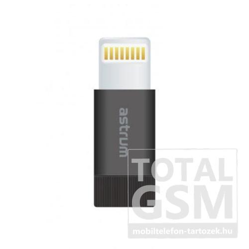 Astrum 8 pin Lightning Micro USB átalakító adapter MFI engedéllyel fekete