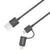 Astrum Apple iPhone 5 / 6 / 7 1,2M adatkábel micro usb átalakítóval MFI engedéllyel CB-U2CAL-12