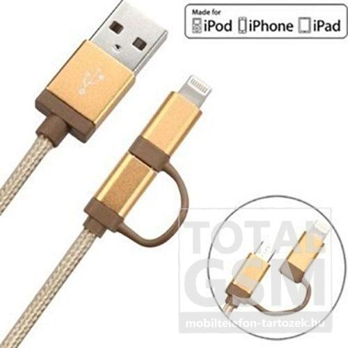 Astrum Apple iPhone 5 / 6 / 7 1,2M fémhálós strapabíró adatkábel micro usb átalakítóval MFI engedéllyel arany
