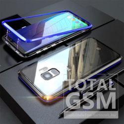 Samsung G965F Galaxy S9 Plus Kék-Fekete Aluminium Keretes Mágneses Plexi Tok