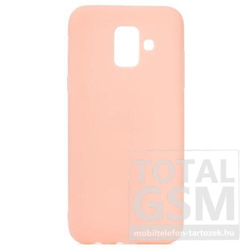 Samsung A605 Galaxy A6 Plus (2018) Rózsaszín Matt Vékony Szilikon Tok