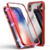 Apple iPhone X / XS Piros Aluminium Keretes Mágneses Plexi Tok