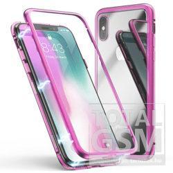 Apple iPhone XS Max Rózsaszín Aluminium Keretes Mágneses Plexi Tok
