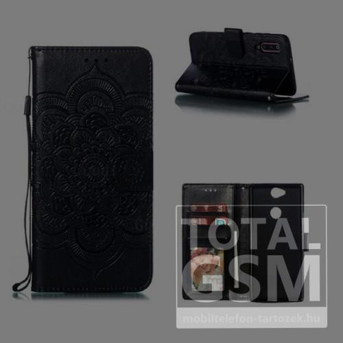 Huawei P30 Lite Tok álló, bőr hatású (FLIP, oldalra nyíló, asztali tartó funkció, csuklópánt, virág, mandala minta) FEKETE