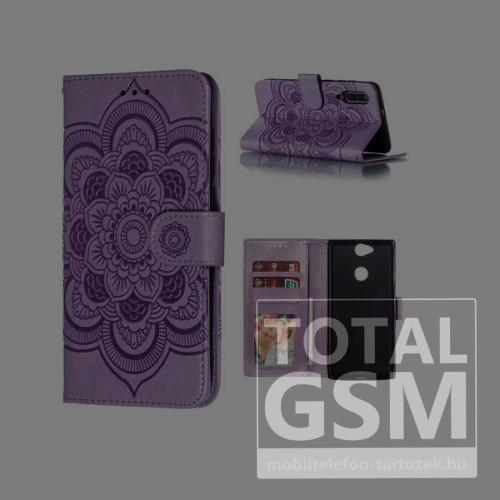 Huawei P30 Lite Tok álló, bőr hatású (FLIP, oldalra nyíló, asztali tartó funkció, csuklópánt, virág, mandala minta) LILA