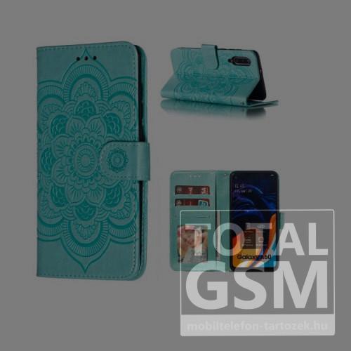 Huawei P30 Lite Tok álló, bőr hatású (FLIP, oldalra nyíló, asztali tartó funkció, csuklópánt, virág, mandala minta) ZÖLD