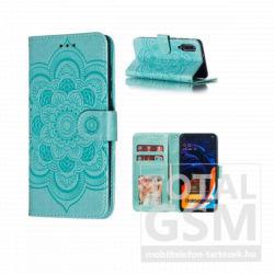 Samsung A307 Galaxy A30s Tok álló, bőr hatású (FLIP, oldalra nyíló, asztali tartó funkció, csuklópánt, virág, mandala minta) ZÖLD
