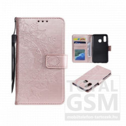 Samsung A750 Galaxy A7 (2018) Tok álló, bőr hatású (FLIP, oldalra nyíló, asztali tartó funkció, csuklópánt, mandala minta) ROZÉARANY