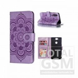 Samsung G970 Galaxy S10e Tok álló, bőr hatású (FLIP, oldalra nyíló, asztali tartó funkció, csuklópánt, virág, mandala minta) LILA