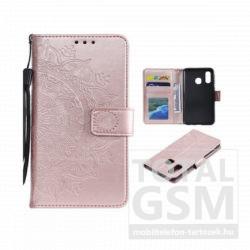 Samsung G975 Galaxy S10 Plus Tok álló, bőr hatású (FLIP, oldalra nyíló, asztali tartó funkció, csuklópánt, mandala minta) ROZÉARANY