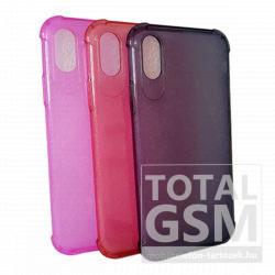 Samsung A105F Galaxy A10 (2019) Rózsaszín-Átlátszó Légpárnás Sarok Szilikon Tok